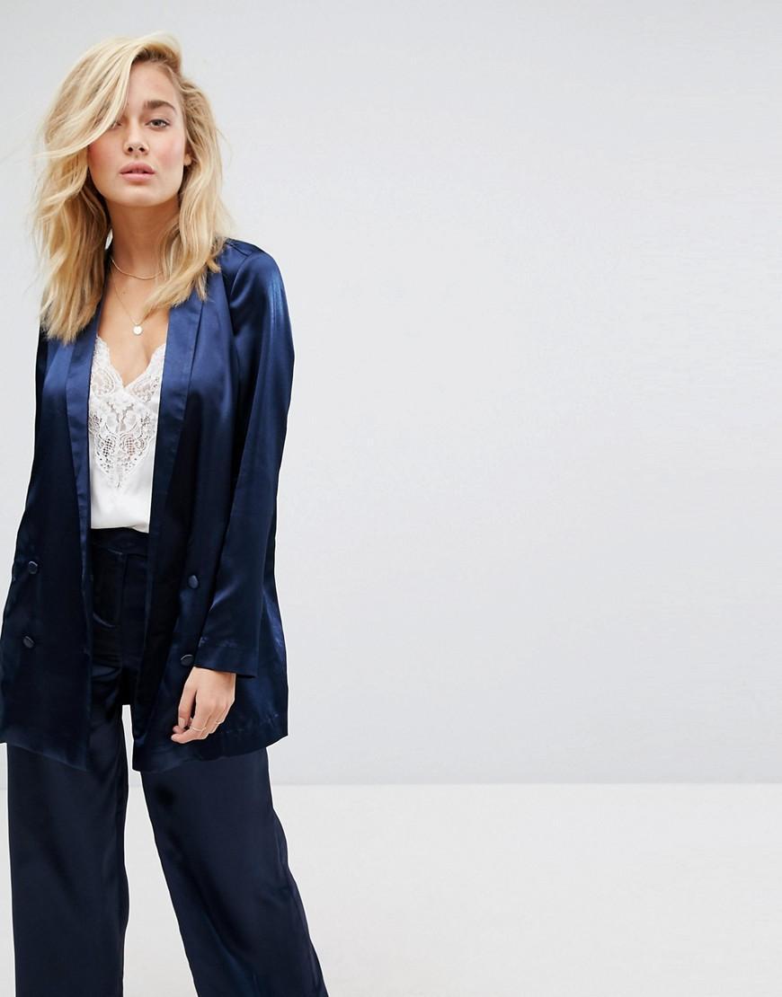 d69494615 Lyst - Moss Copenhagen Longline Blazer In Hammered Satin Co-ord in Blue