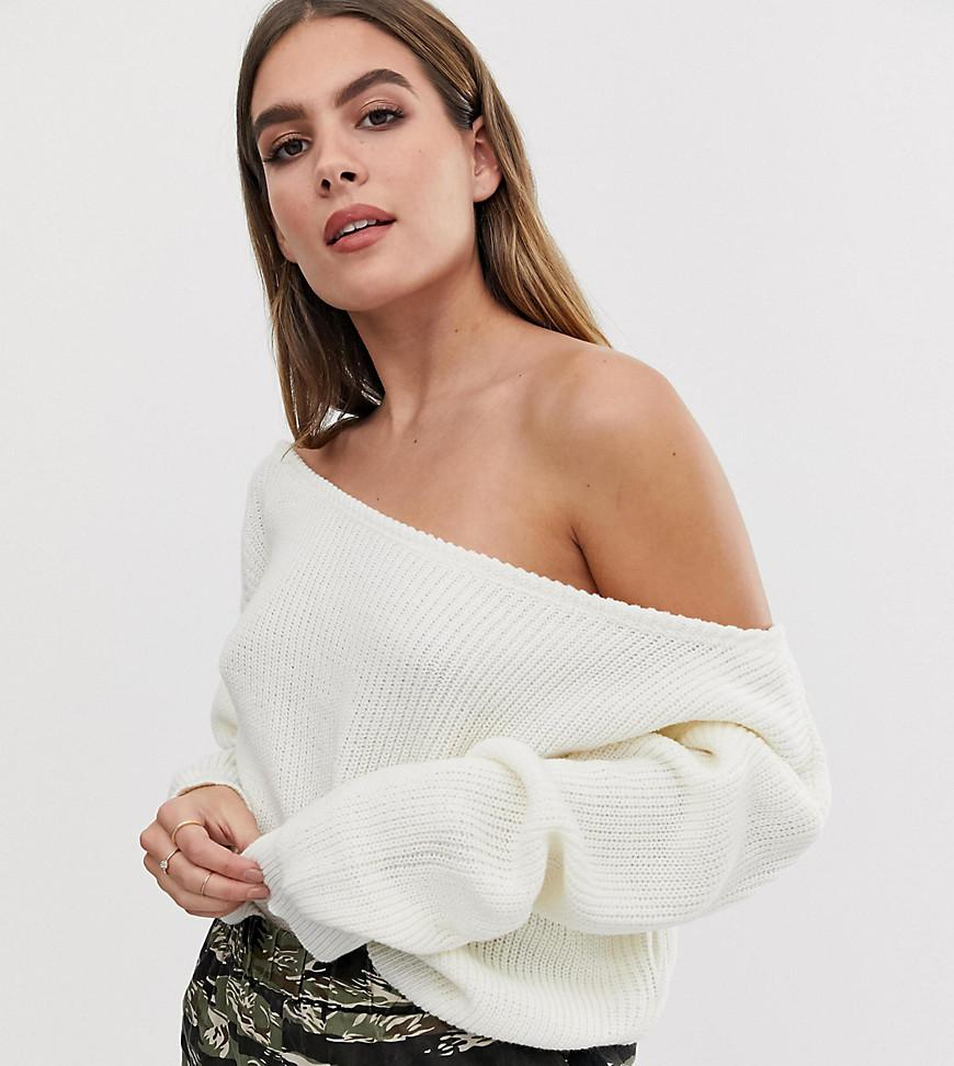 64bf0c207de414 Lyst - PrettyLittleThing Off Shoulder Sweater In Cream in Natural