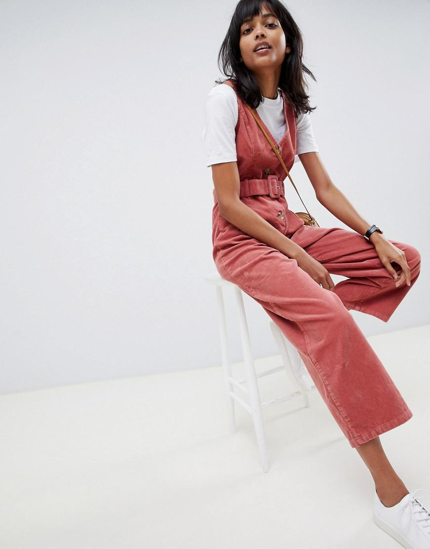 efea8a10405 Lyst - ASOS Cord Button Through Belted Jumpsuit In Red Brick in Red