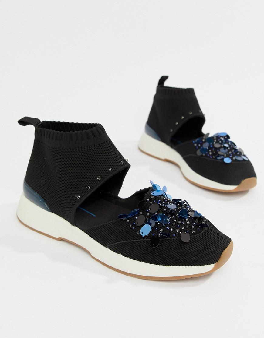 0bad2a867c3a Lyst - Stradivarius Gem Pull On Cutout Sneaker in Black