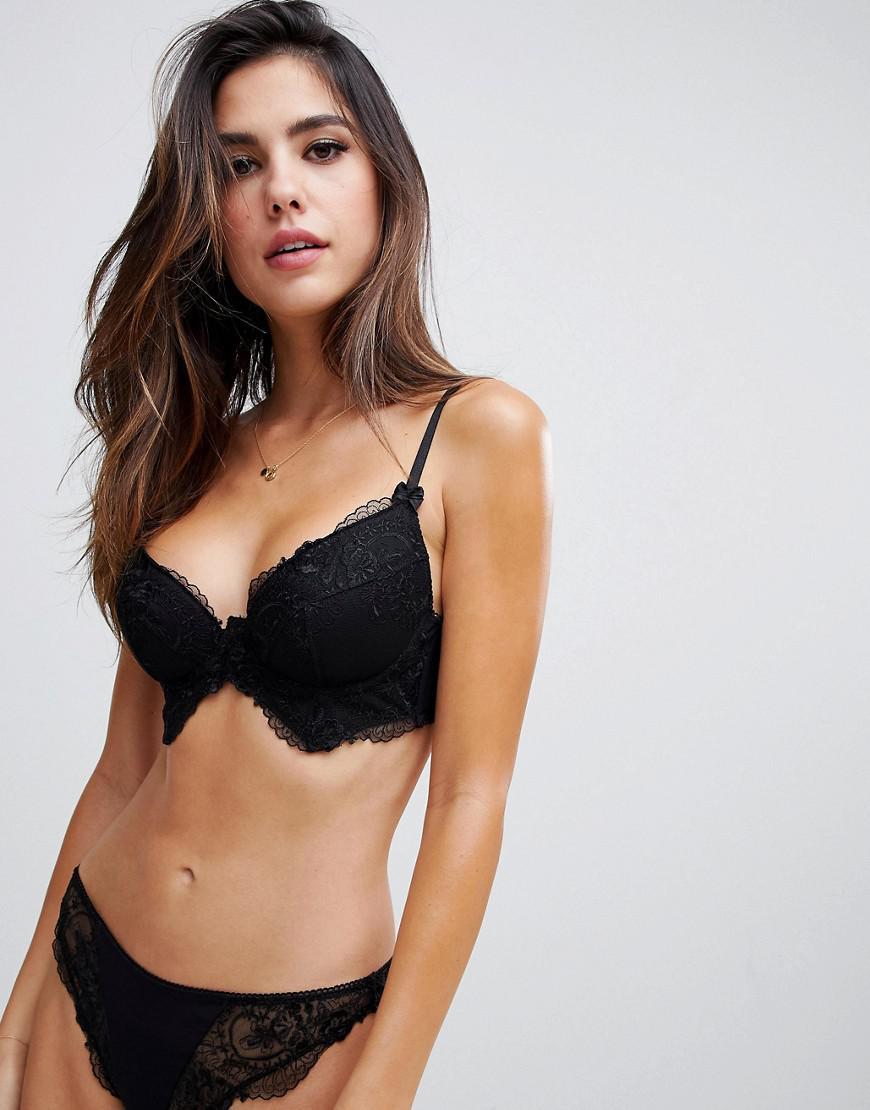 d180158e24 Lyst - Asos Kate Lace Longline Moulded Underwire Bra in Black