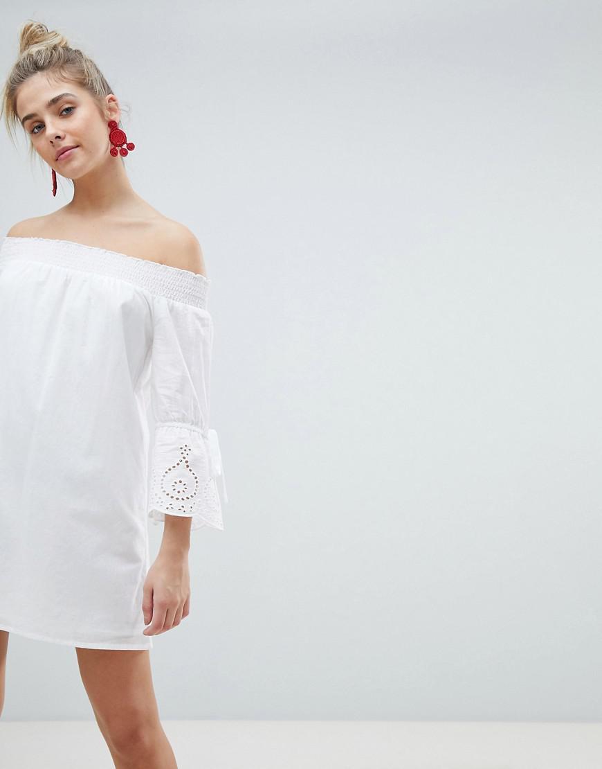 ed69a1f6e85e PrettyLittleThing Sleeve Detail Bardot Dress in White - Lyst