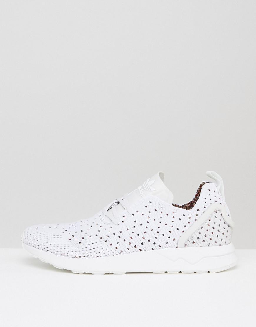 9a3ea93b14d30 Lyst - adidas Originals Asymmetrical Zx Flux Primeknit Sneakers In White in  White for Men - Save 48%