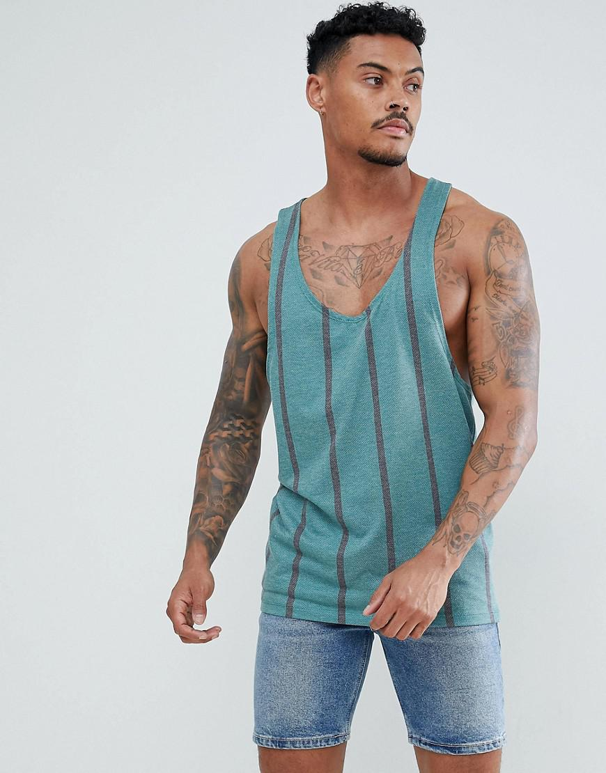Authentic 100% Guaranteed Cheap Price DESIGN Tall striped extreme racer back vest in textured fabric - Green Asos Cheap Genuine R4iZ7dQN2