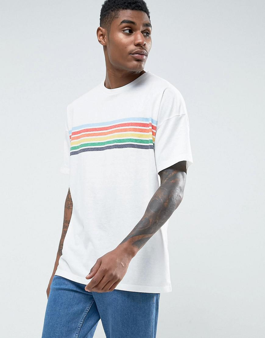 76721093ed ASOS Asos Oversized T-shirt With Chest Rainbow Stripe in White for ...