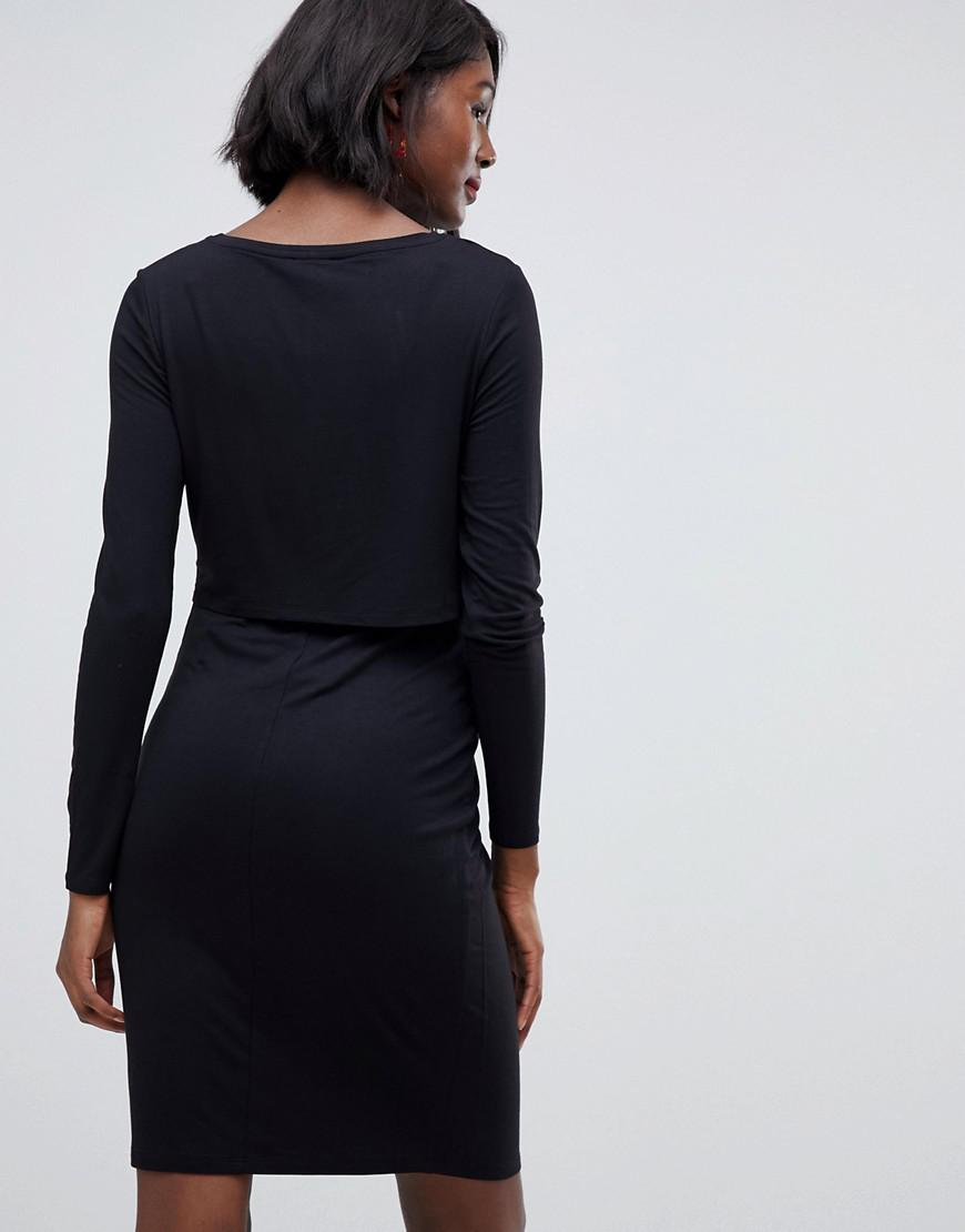 be44e7a5cab Lyst - New Look Double Layer Nursing Dress In Black in Black