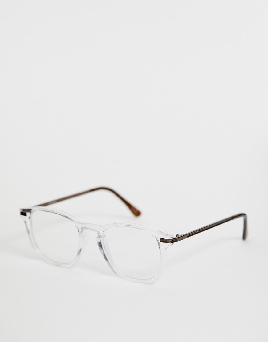 b09375c31b709 ASOS. Men s White Crystal Glasses In Clear With Clear Lens And Bronze Metal  Temples