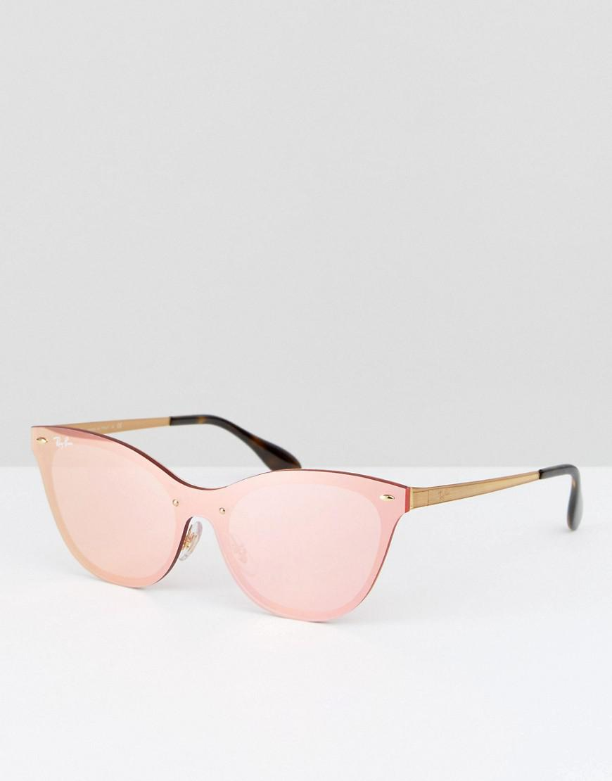 65b24516b34 Ray-Ban Ray Ban Flat Lens Cateye Sunglasses In Pink With Flash Lens ...