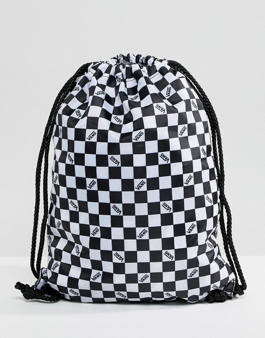 ec3b0dd7d2 Vans Checkerboard Drawstring Bag in Black - Lyst