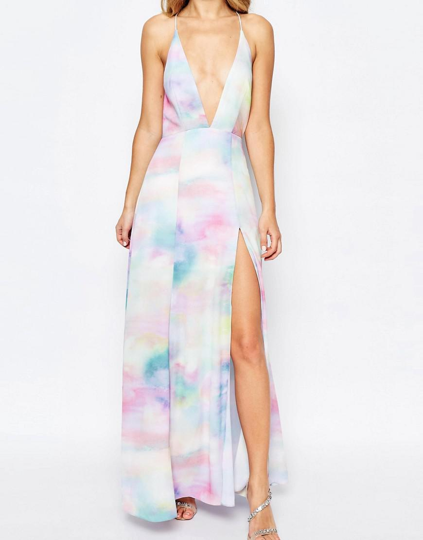 Lyst Fame Amp Partners Valentina Dream Maxi Dress With Cut