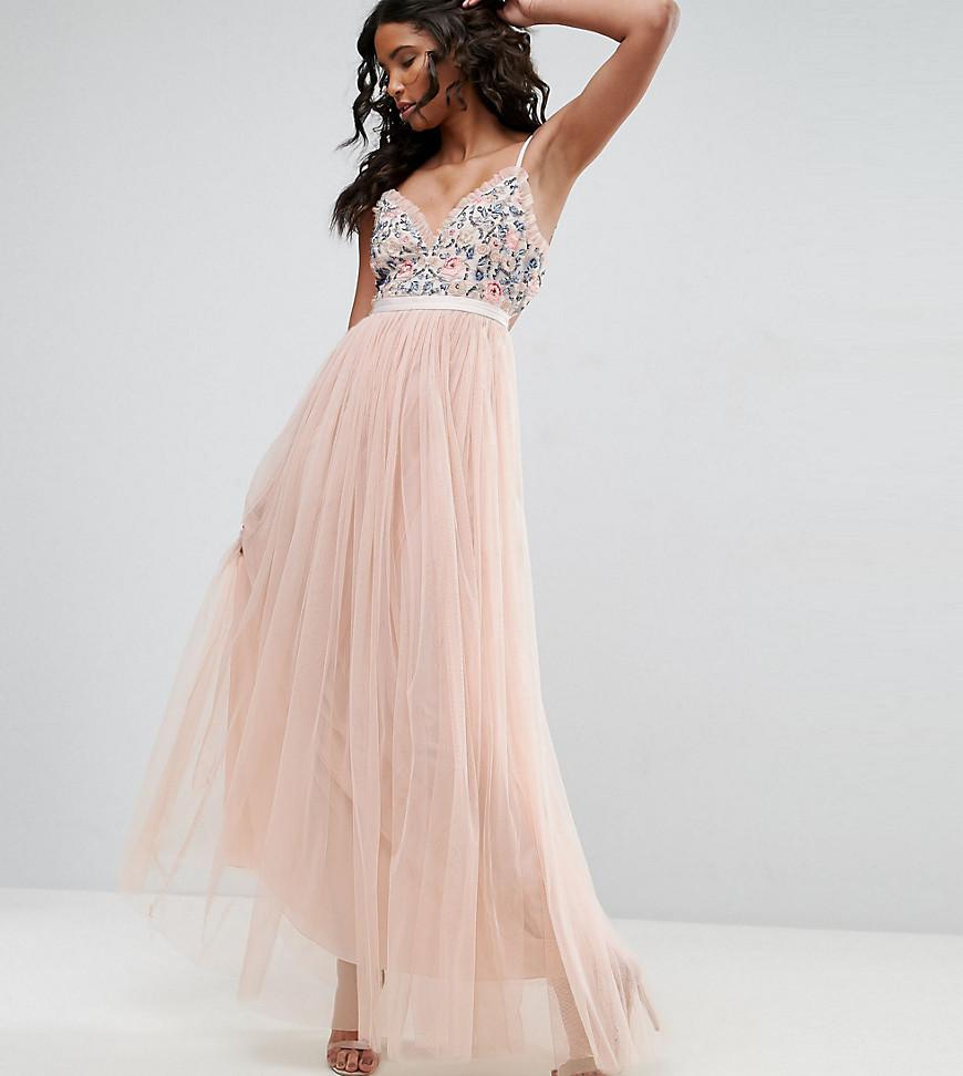 e4a291c02ce0 Lyst - Needle   Thread Whisper Embroidered Tulle Maxi Dress in Pink
