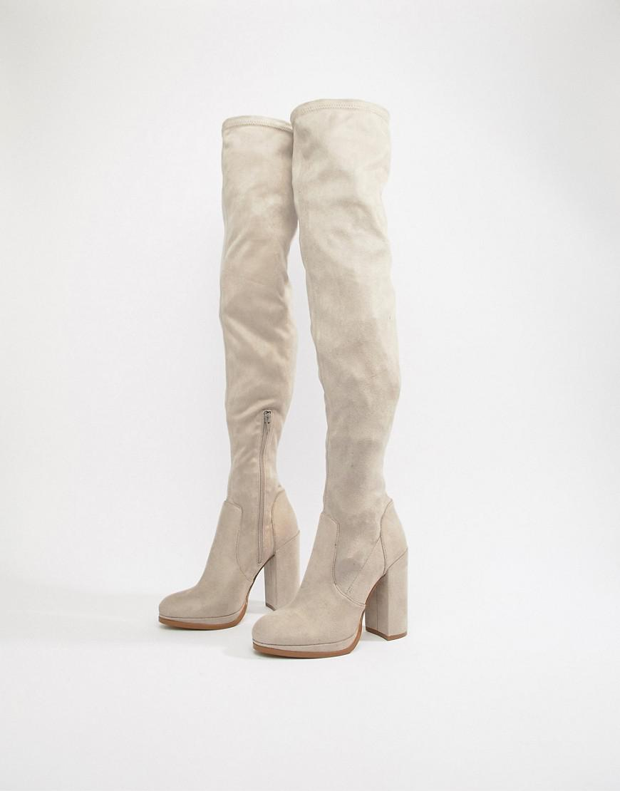 a49e01b1419 Lyst - ASOS Wide Fit Kassidy Heeled Over The Knee Boots in Gray