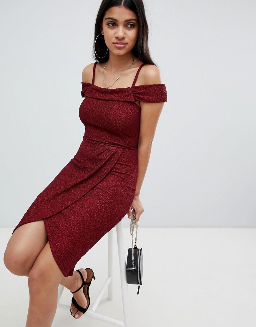 52b38b3851 Lyst - Ax Paris Bardot Midi Dress in Red