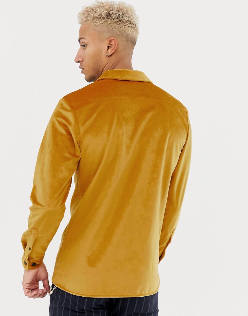 9000e91f2bc Lyst - ASOS Regular Fit Revere Velour Shirt Mustard in Yellow for Men