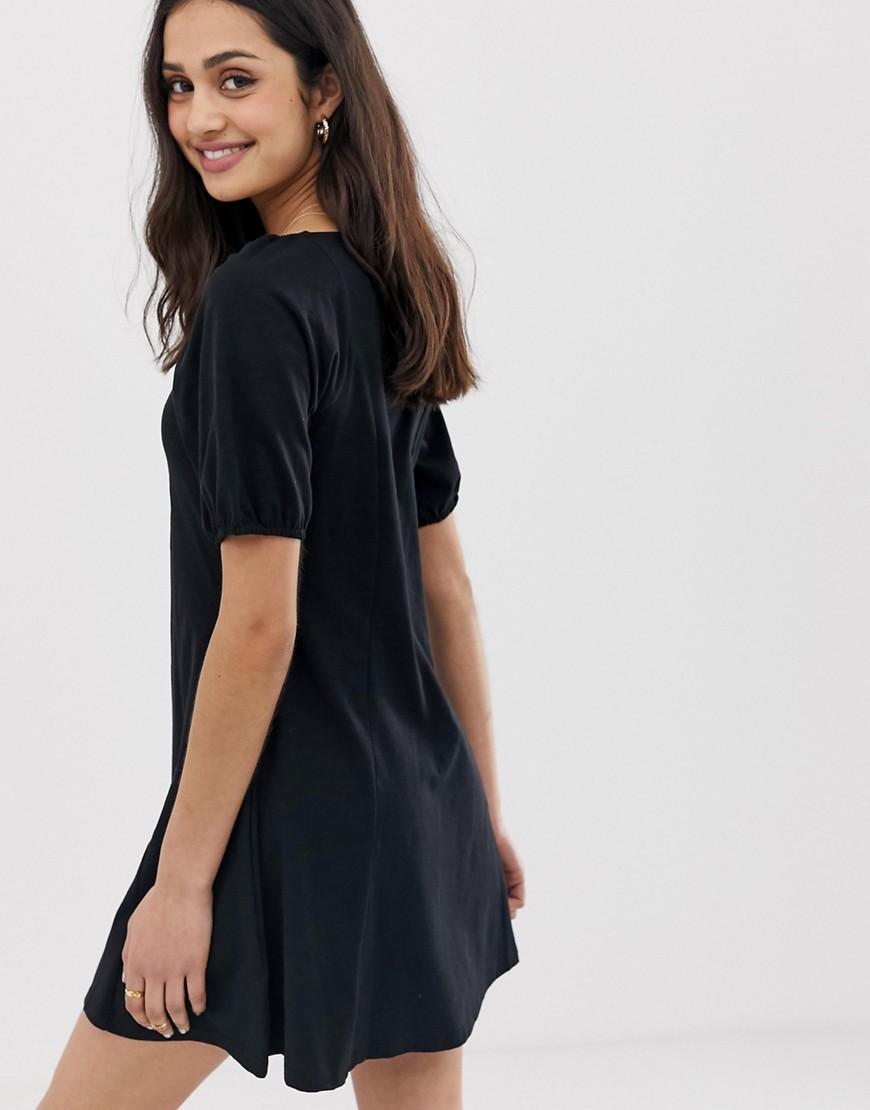 b0e9d9379e6 Lyst - ASOS Slubby Mini Tea Dress With Faux Shell Buttons in Black