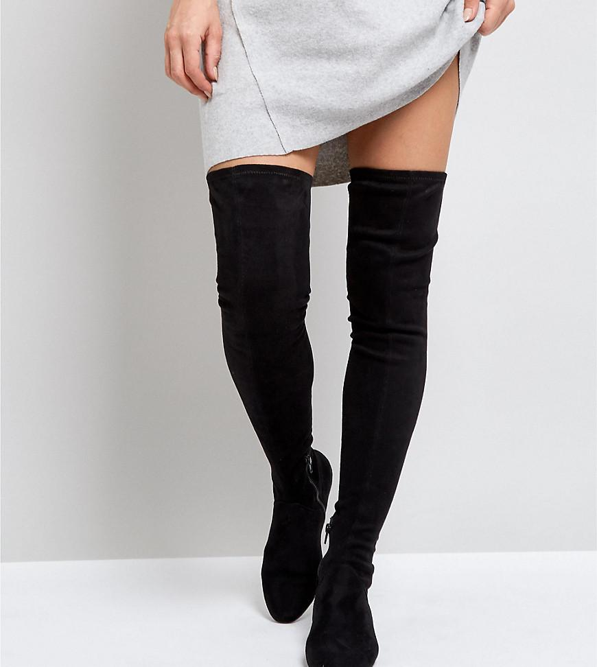 636000a60cc ASOS Asos Kasba Wide Leg Flat Over The Knee Boots in Black - Save 38 ...