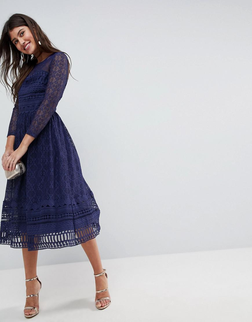 703def7342ce Lyst - ASOS Asos Premium Lace Skater Midi Dress With Long Sleeves in ...