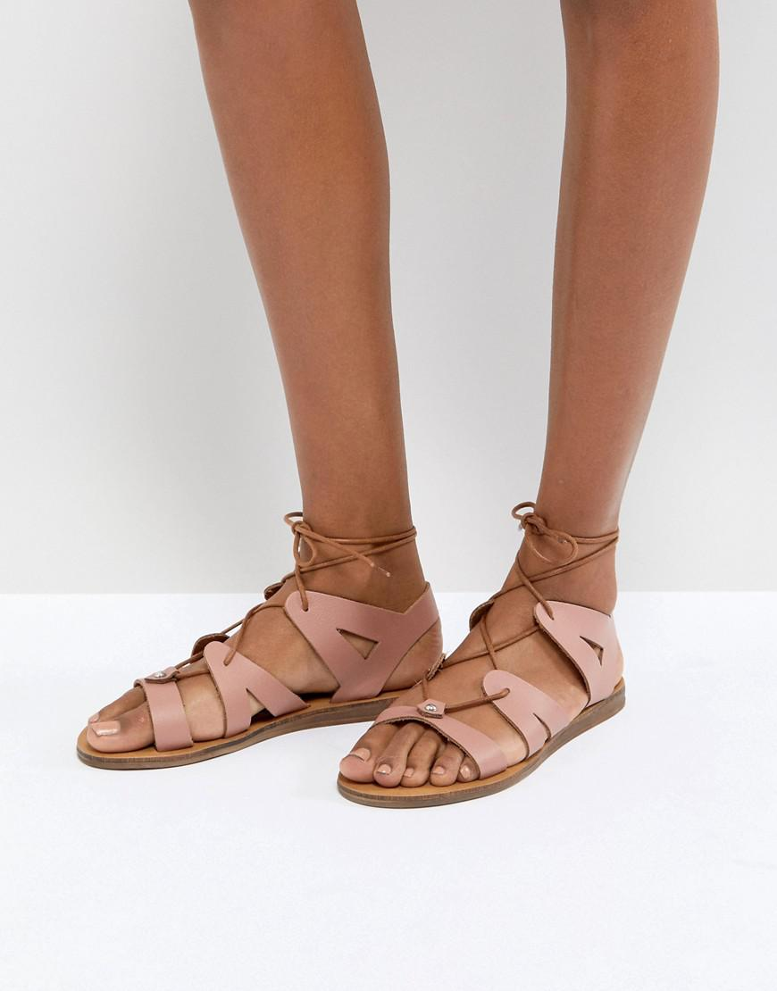 Office Saffy Leather Gladiator Lace Up Sandals in Pink - Lyst
