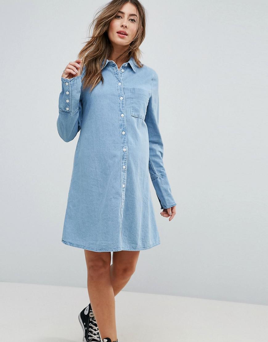 Lyst asos asos design maternity denim shirt dress with deep cuff view fullscreen ombrellifo Gallery