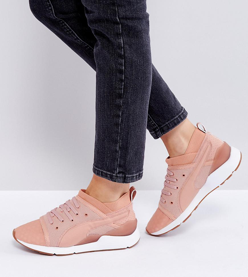 13151bd5295 Lyst - PUMA Pearl Lace Up Sneakers In Pink in Pink
