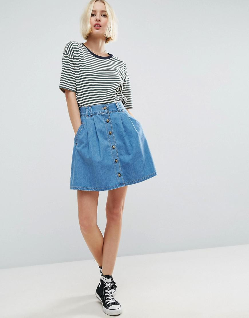 543697ce2 Lyst - ASOS Denim Button Front Mini Skater Skirt In Mid Wash Blue in ...