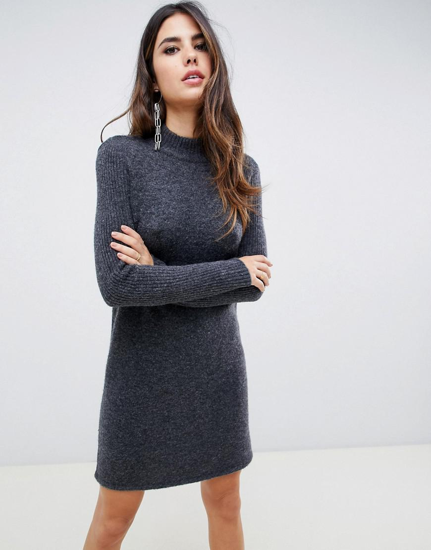 188e683765f Lyst - Y.A.S High Neck Knitted Dress in Gray