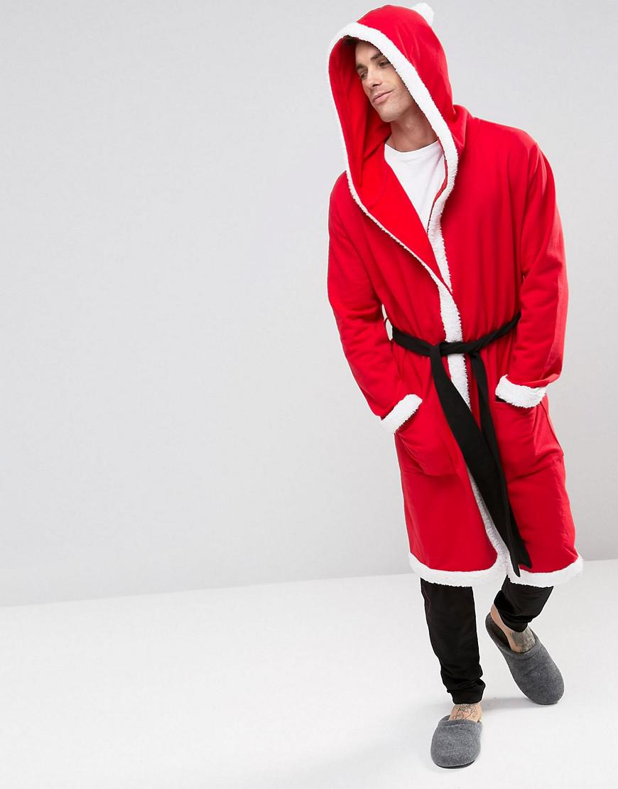 Lyst - Asos Christmas Santa Dressing Gown in Red for Men