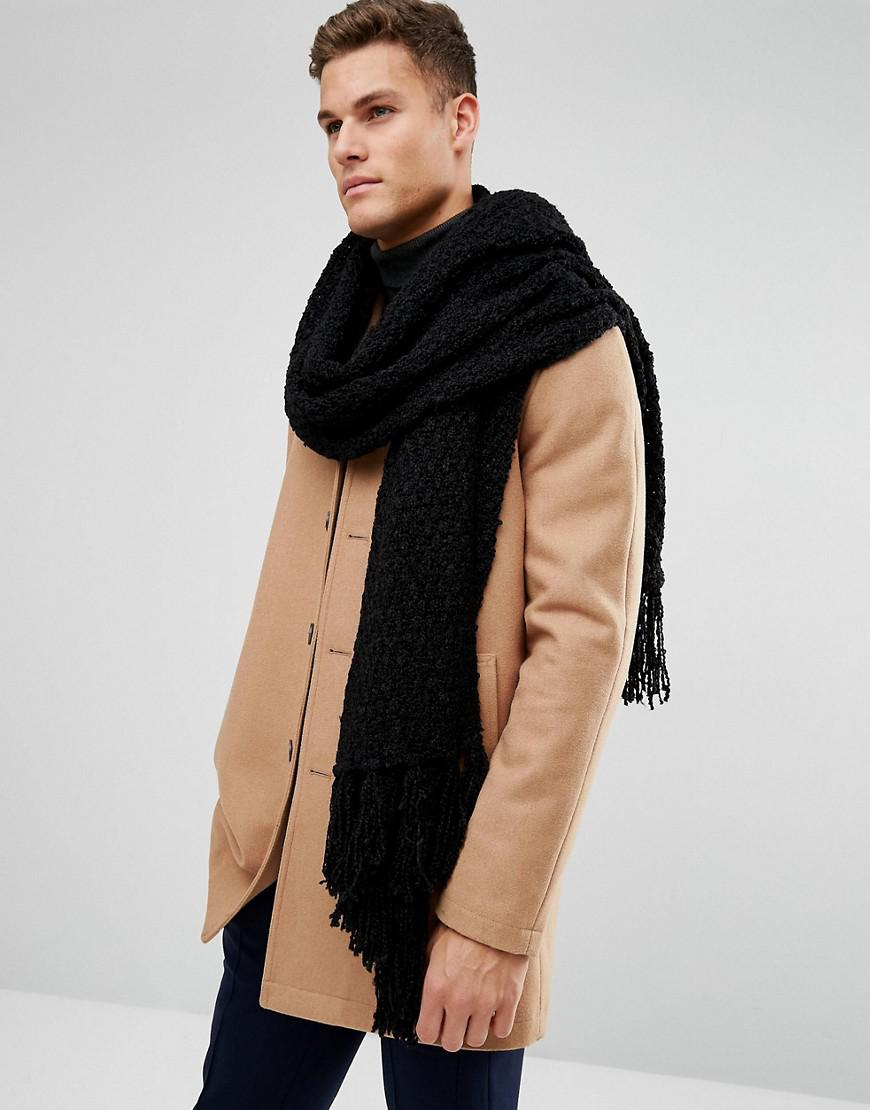 68f13a88b ASOS Blanket Scarf In Black Knitted Texture in Black for Men - Lyst