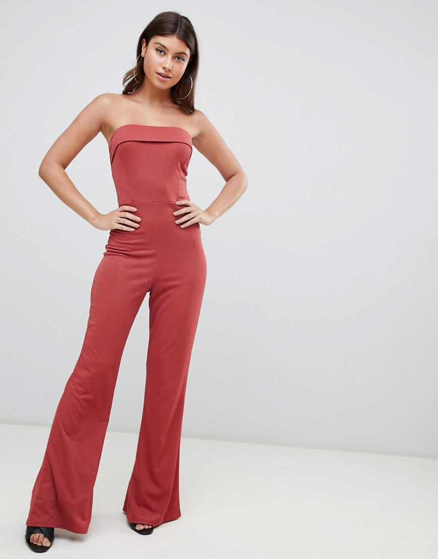 bee38c4b65c3 PrettyLittleThing Flared Bandeau Jumpsuit in Brown - Lyst