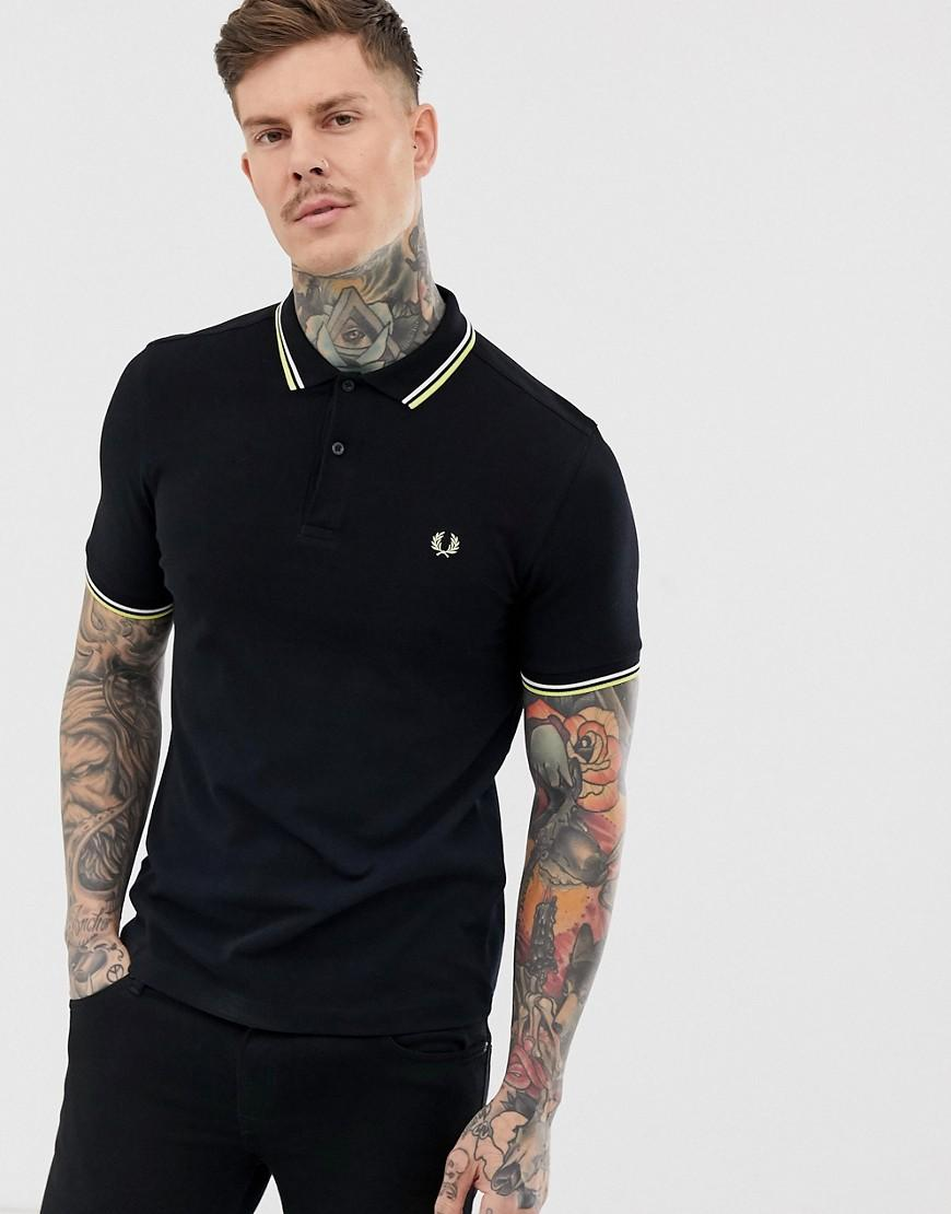 4e16553f Fred Perry Twin Tipped Polo In Black in Black for Men - Lyst
