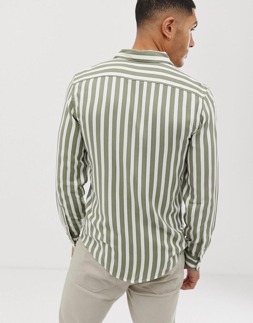 74fb8e509f1234 Bershka Striped Shirt In Green And White in Green for Men - Lyst