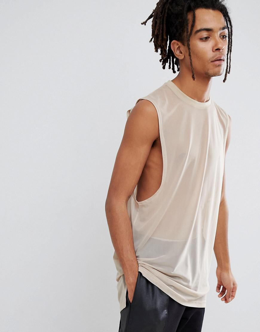 6b0f2f60c1150 Lyst - ASOS Super Longline Sleeveless T-shirt With Dropped Armhole ...