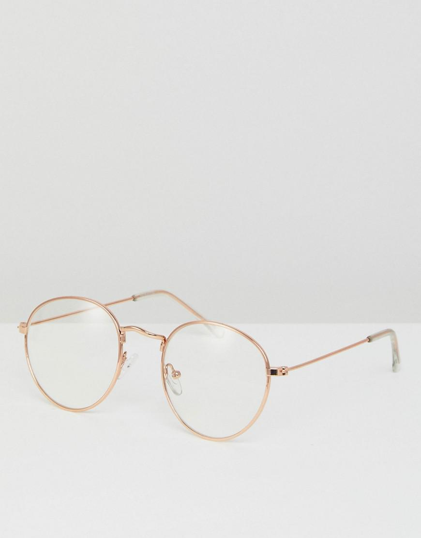 128067c91f Lyst - ASOS Metal Round Glasses With Clear Lens In Gold in Metallic ...