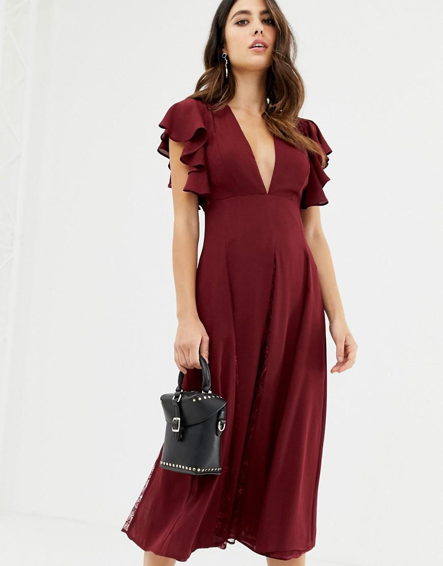 0782862fcc Lyst - ASOS Midi Dress With Lace Godet Panels in Red