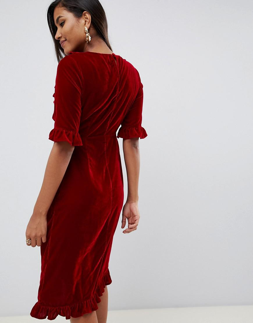 915373aac4 ASOS Velvet Midi Dress With Ruffles in Red - Lyst