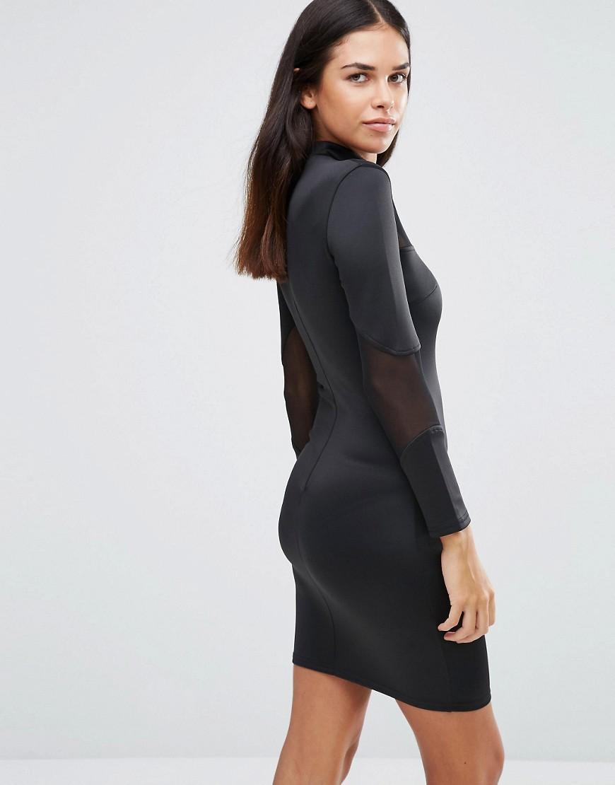 Lyst Ax Paris Long Sleeve Bodycon Midi Dress With Mesh