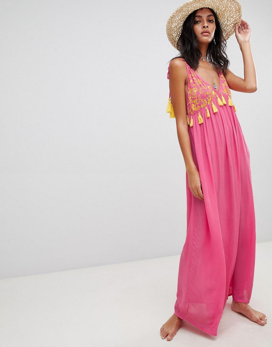 79320e8db8 ASOS Embroidered Pom Pom Trim Halter Maxi Beach Dress in Pink - Lyst