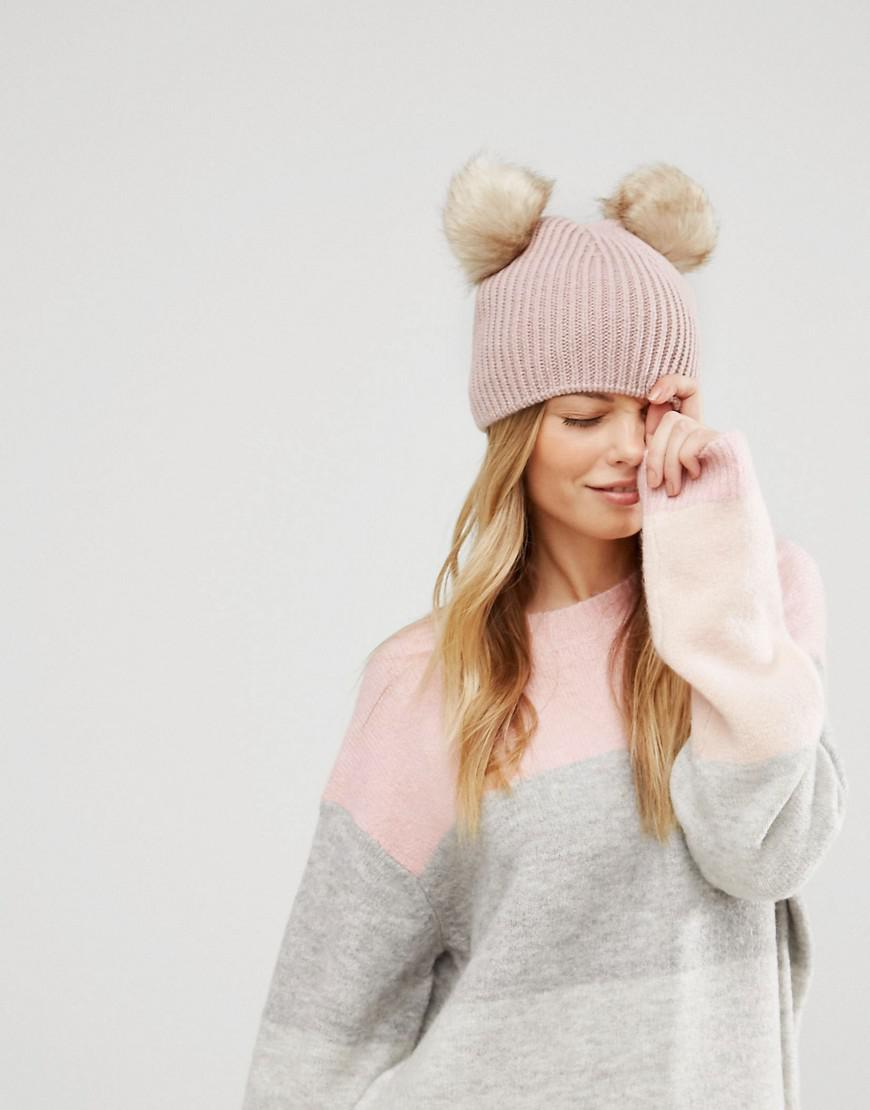 b2374f4640f Lyst - ASOS Asos Rib Beanie With Double Faux Fur Pom in Pink