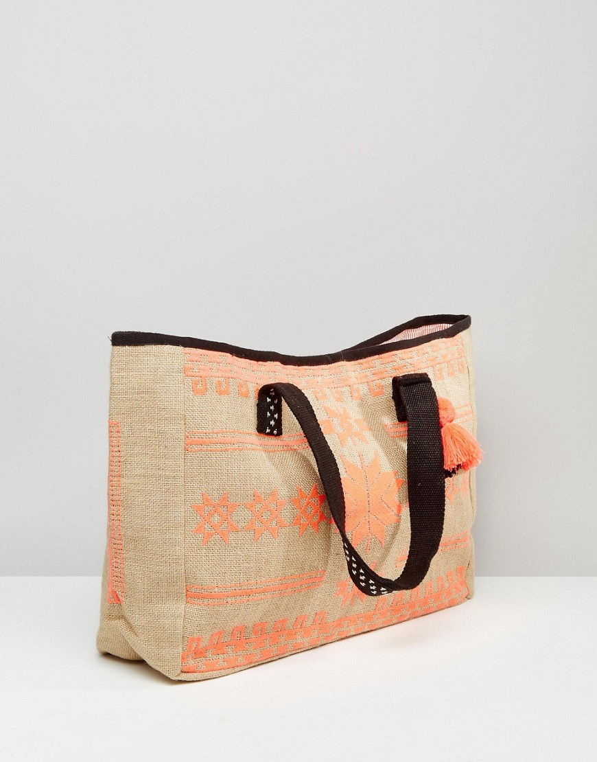 Mango embroidered beach bag in natural lyst