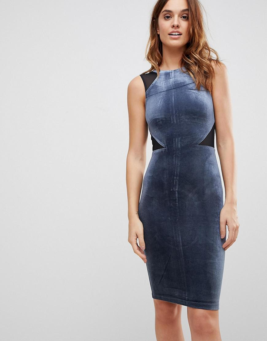 French Connection - Blue Viven Velvet Panel Bodycon Dress - Lyst. View  fullscreen 88af314f3