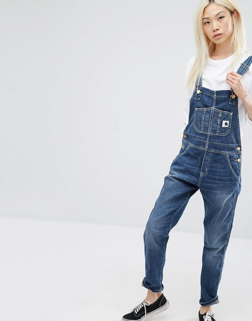 42f98b3527a Lyst - Carhartt WIP Bib Overall Dungarees With Front Logo in Blue