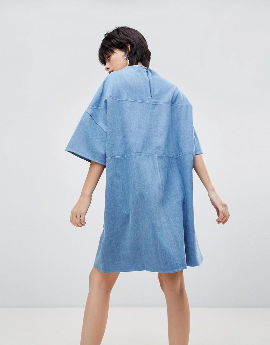 f9eea691594 Lyst - Paisie Oversized Boxy Denim T-shirt Dress in Blue