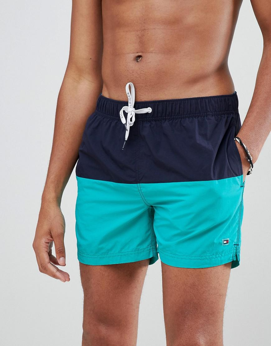 8fb6839bb17edb Tommy Hilfiger - Blue Colourblock Flag Logo Swimshorts In Navy green for Men  - Lyst