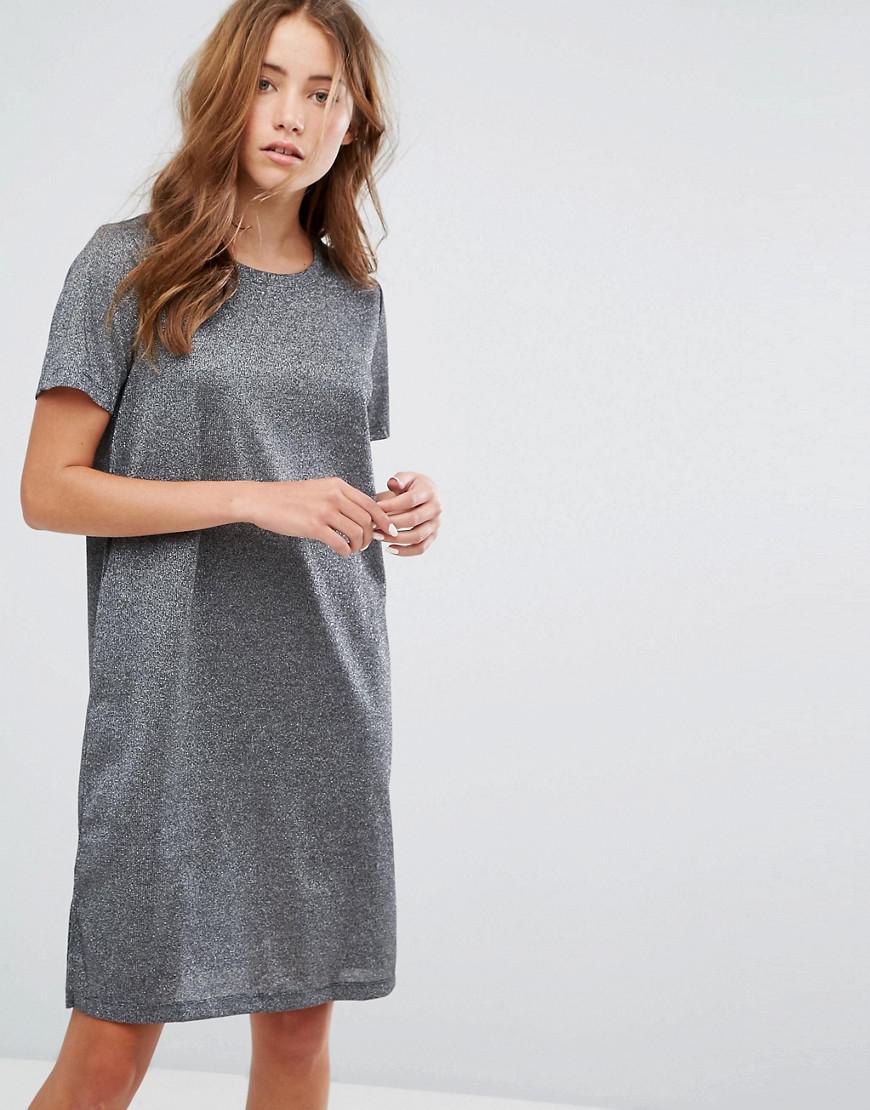 14f47878d116 Vila Metallic T-shirt Dress in Gray - Lyst