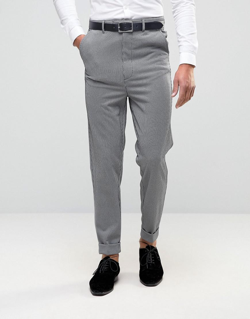 Lyst Asos Super Skinny High Waist Trousers In Grey Dogtooth Design