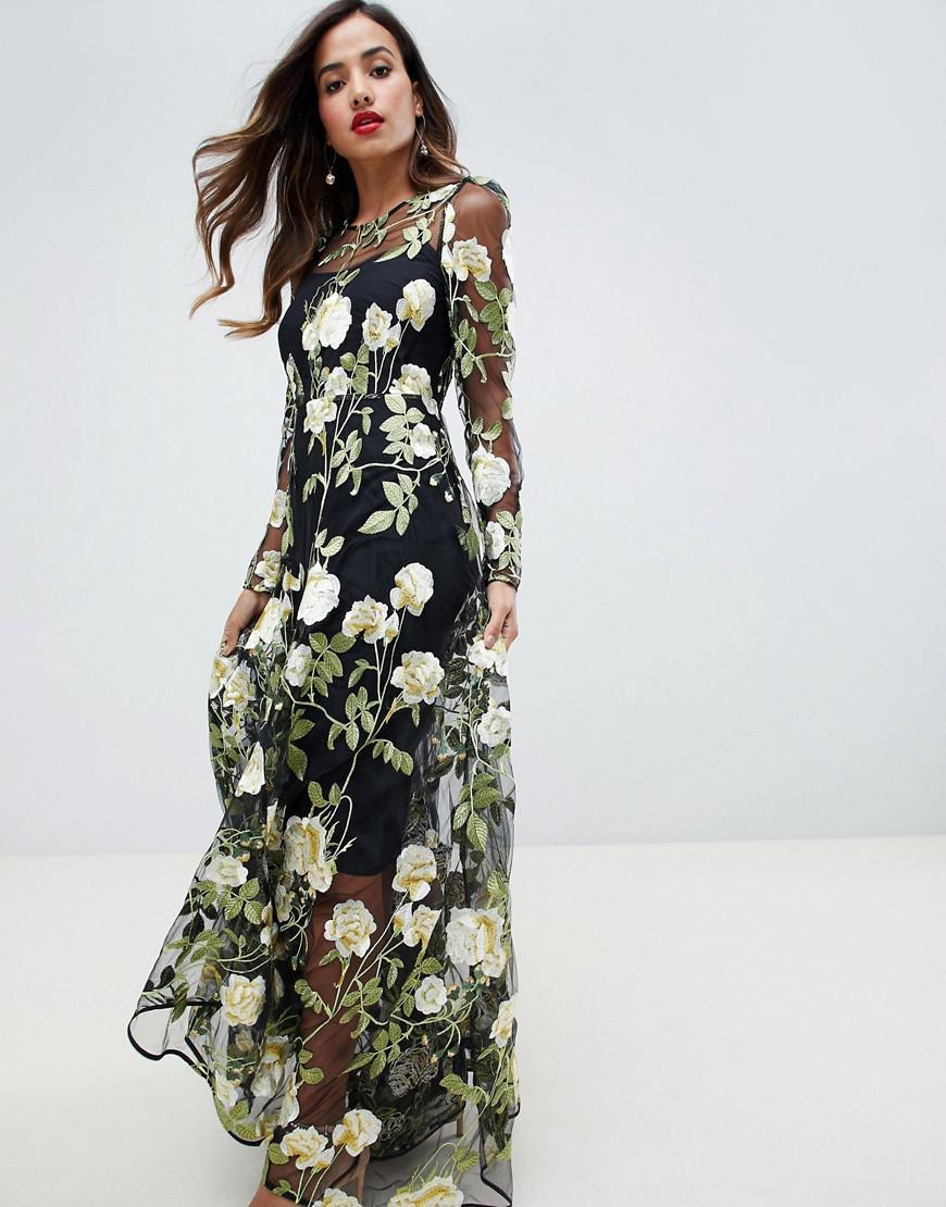 7954c4375e73 Asos Salon Embroidered Floral Maxi Dress Ebay