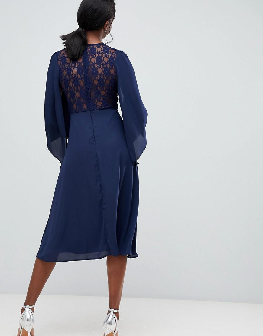 2b29554374 Lyst - John Zack Lace Top Midi Skater Dress With Cape Detail In Navy in Blue