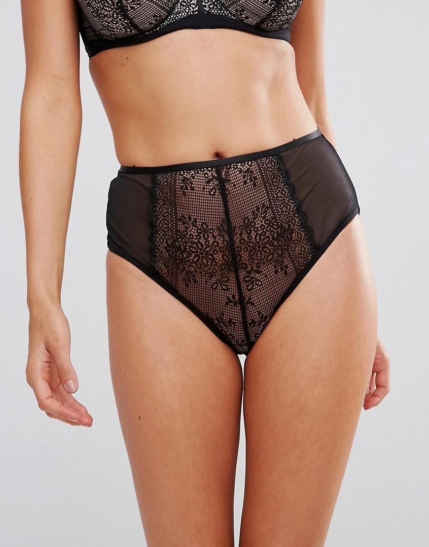 415d17aac577c Asos Fuller Bust Nancy Lace Highwaist Pant in Black - Lyst