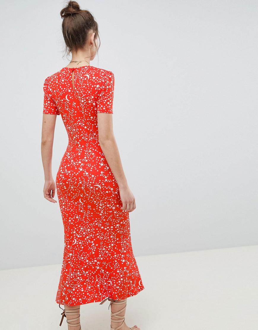 e6ee7b8918 ASOS City Maxi Tea Dress In Star Print in Red - Lyst