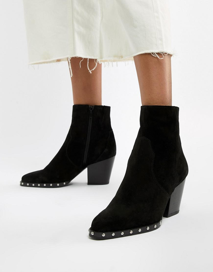 675f91dd5727 Lyst - ASOS Radiance Suede Studded Western Boots in Black
